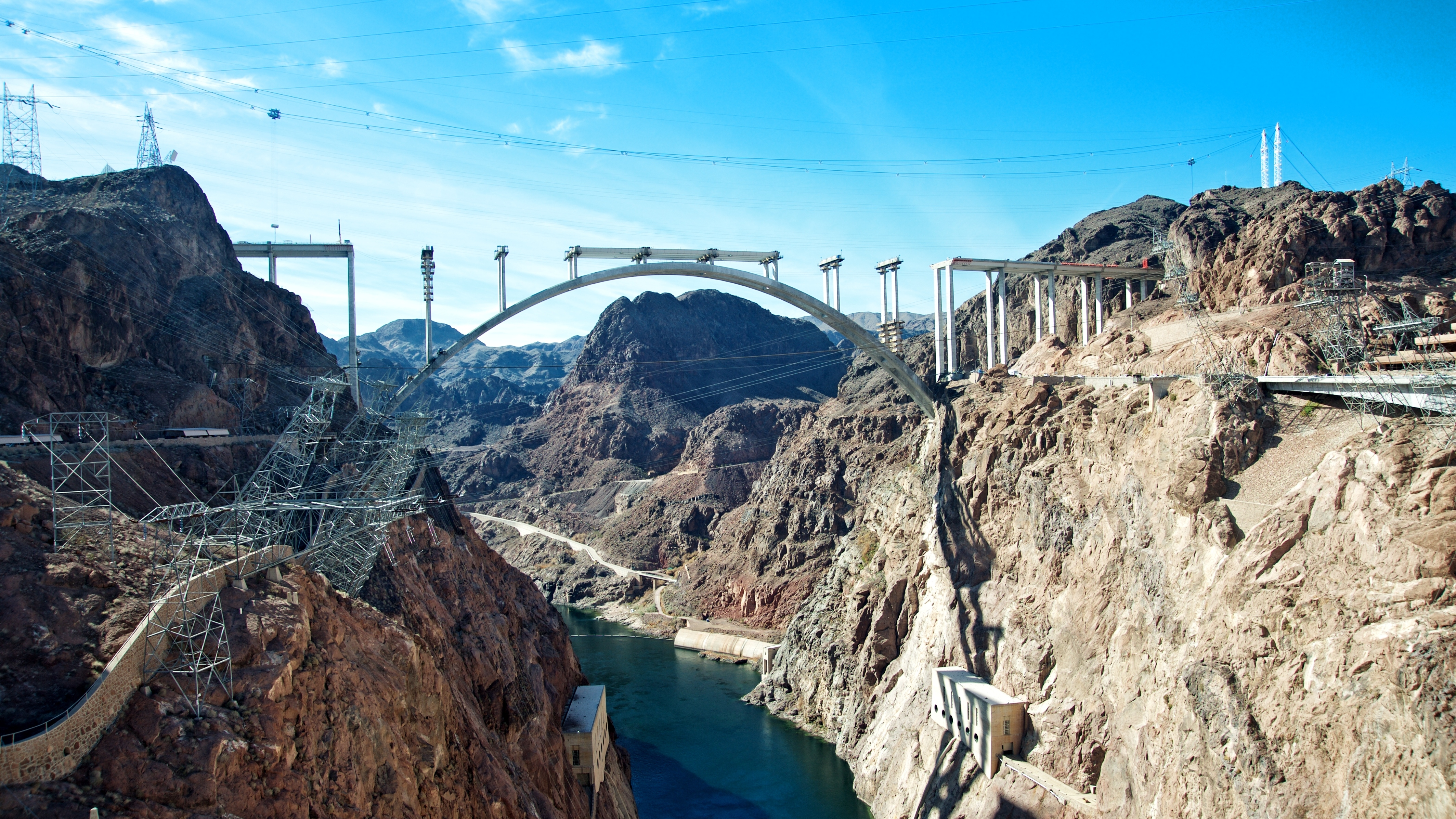 Hoover Dam and the Hoover Dam Bypass Bridge during construction