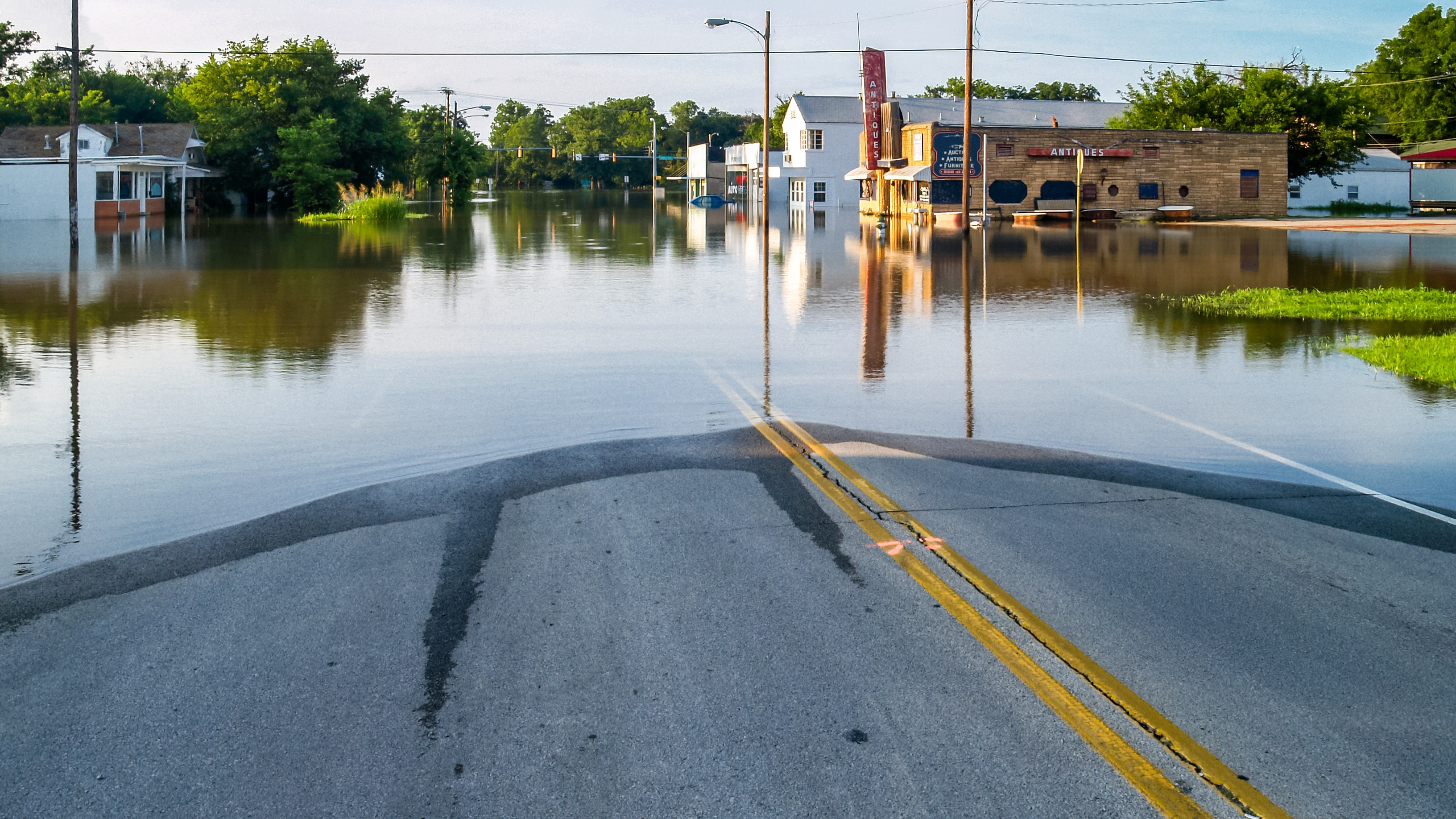 Flooded business street in a small town