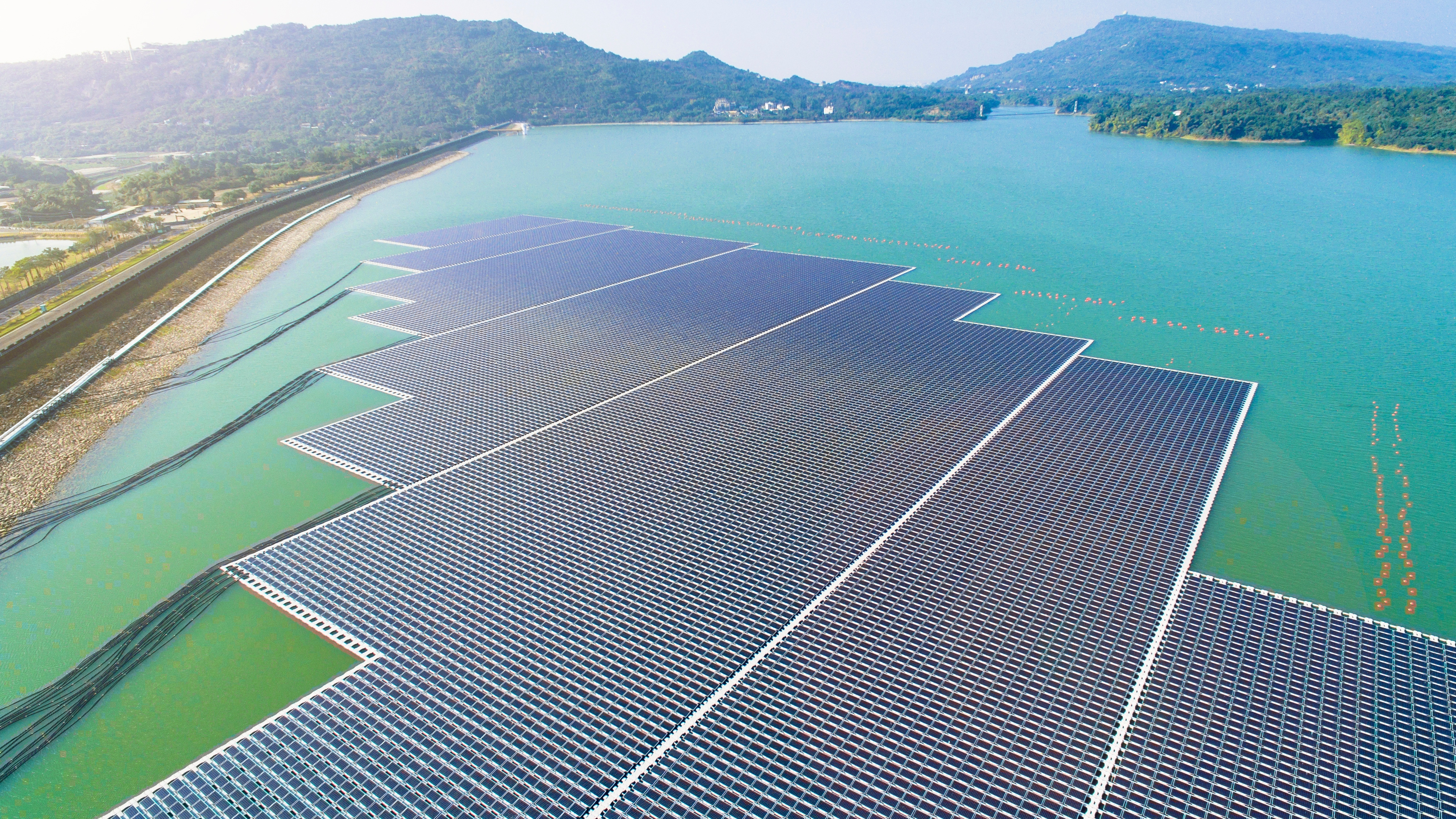 Floating solar panels or solar cell platform on the lake