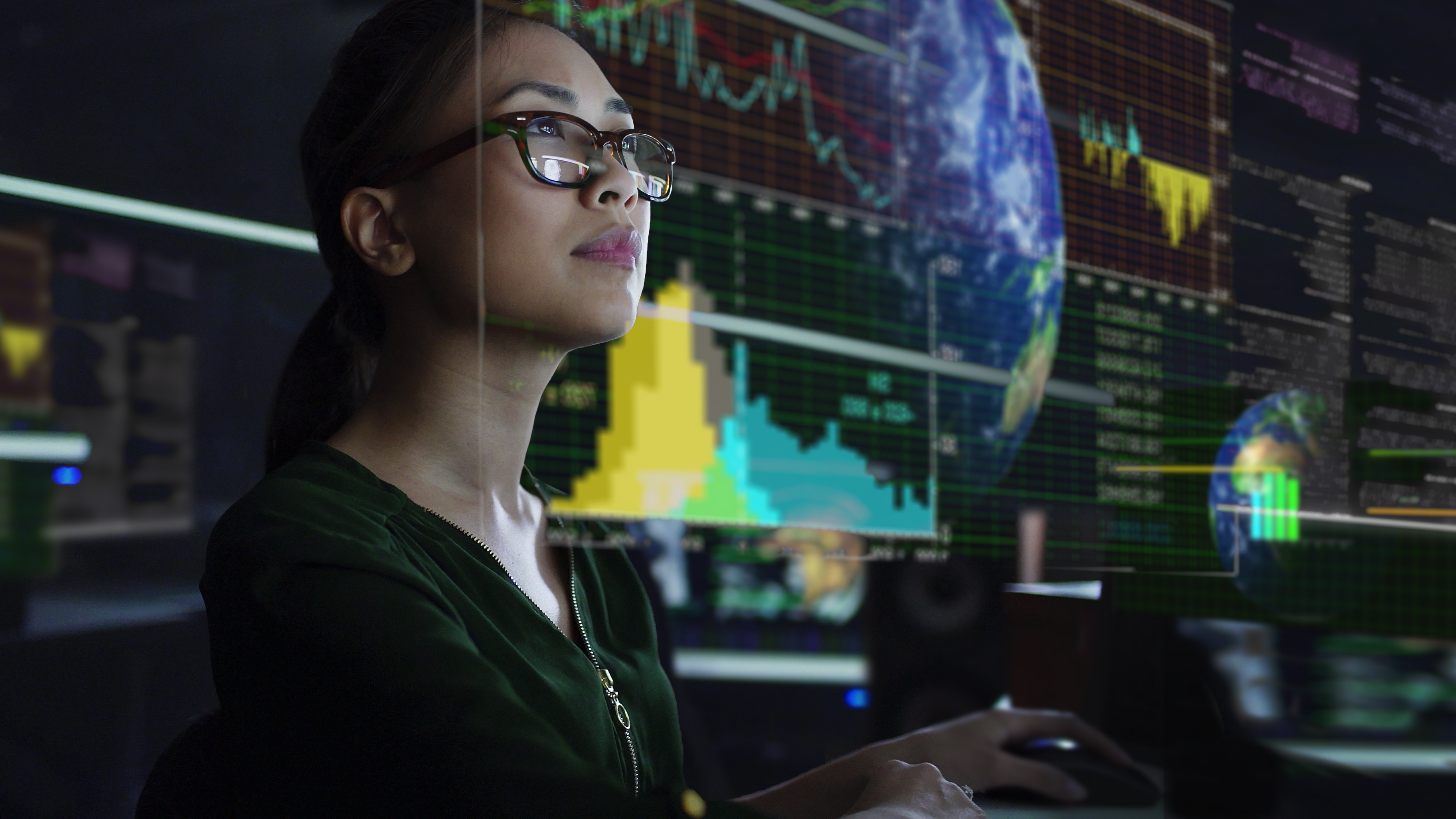 Woman looking at data