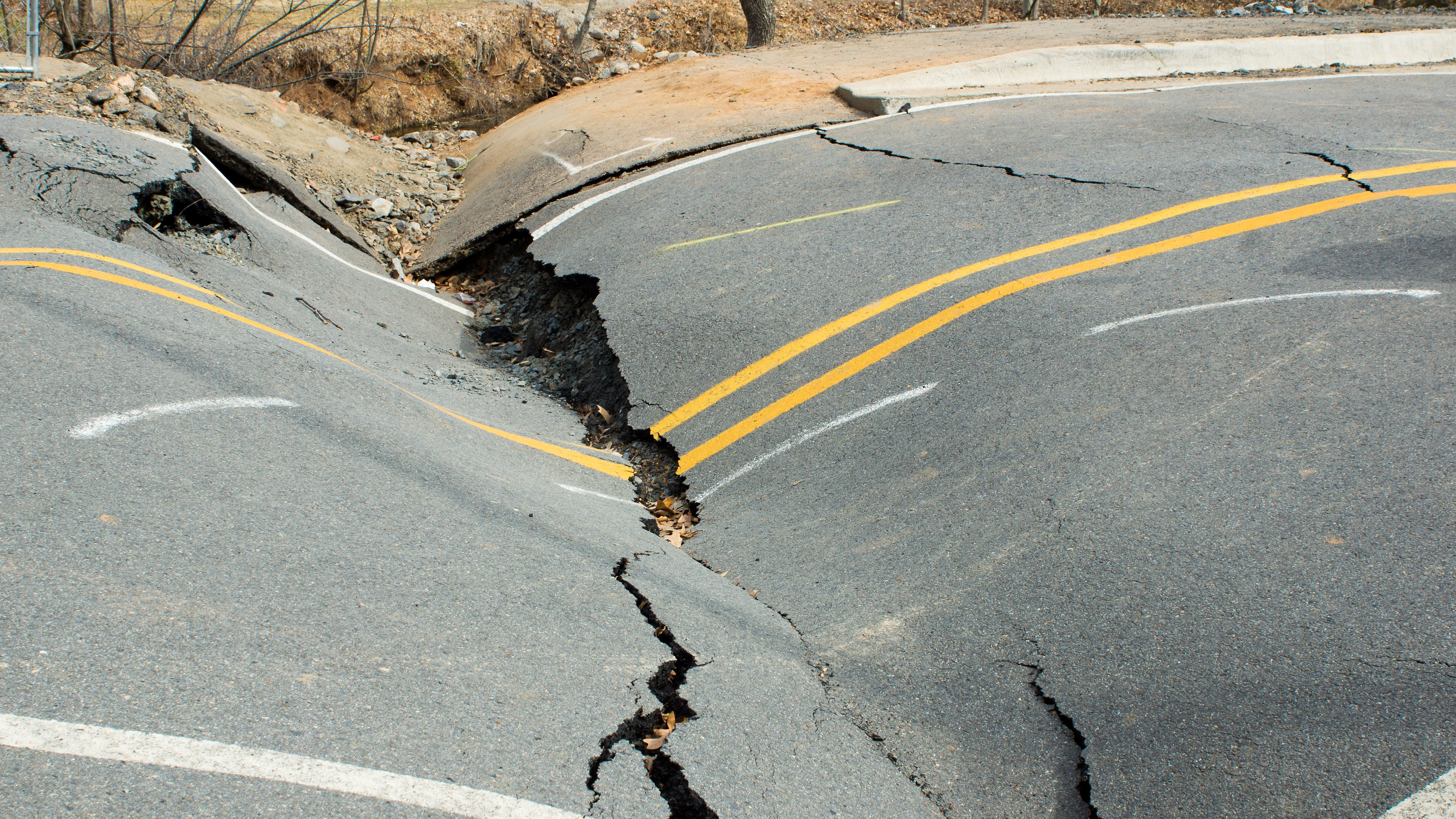 Damaged road after earthquake