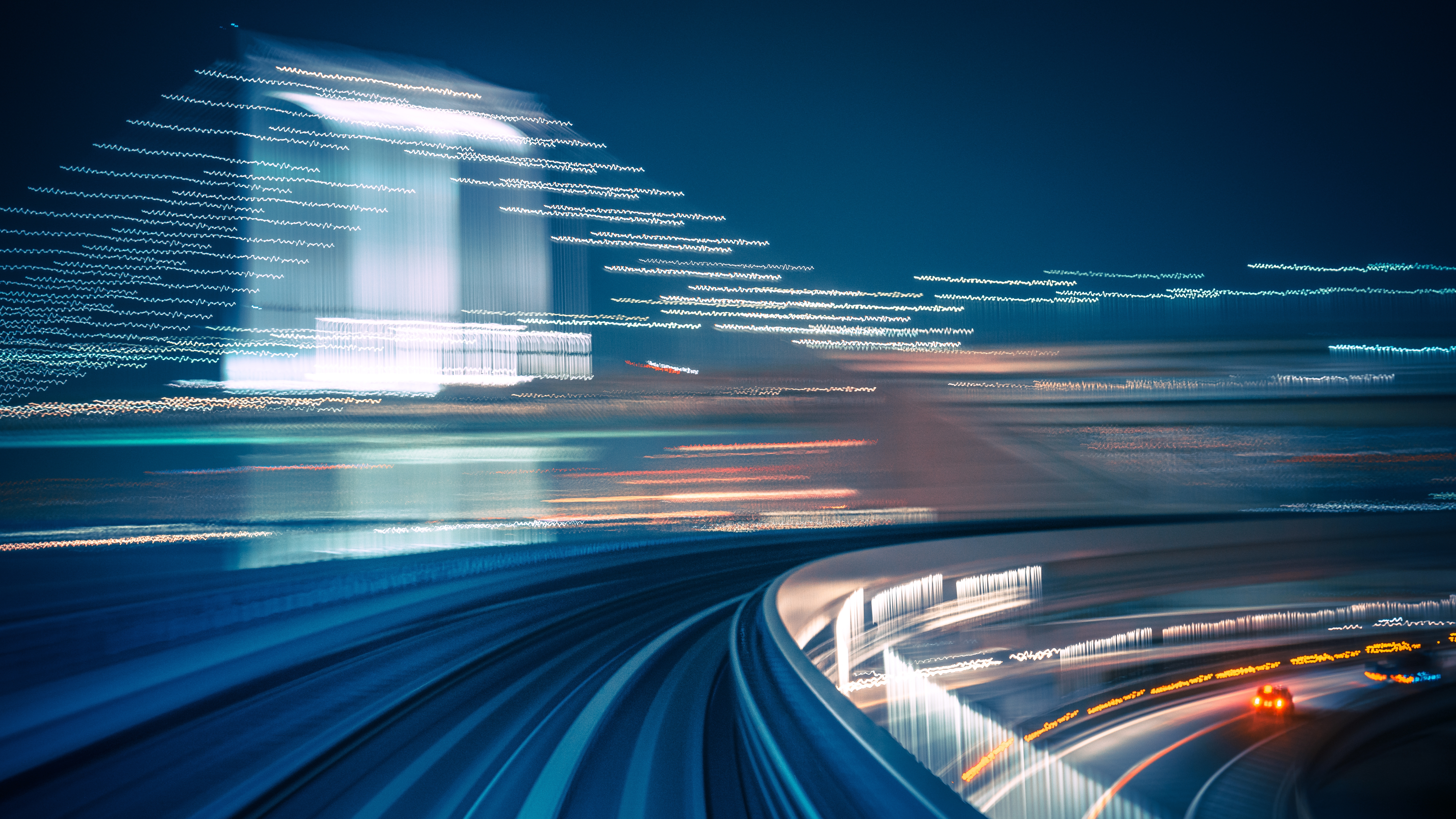 Long exposure shot from a moving train