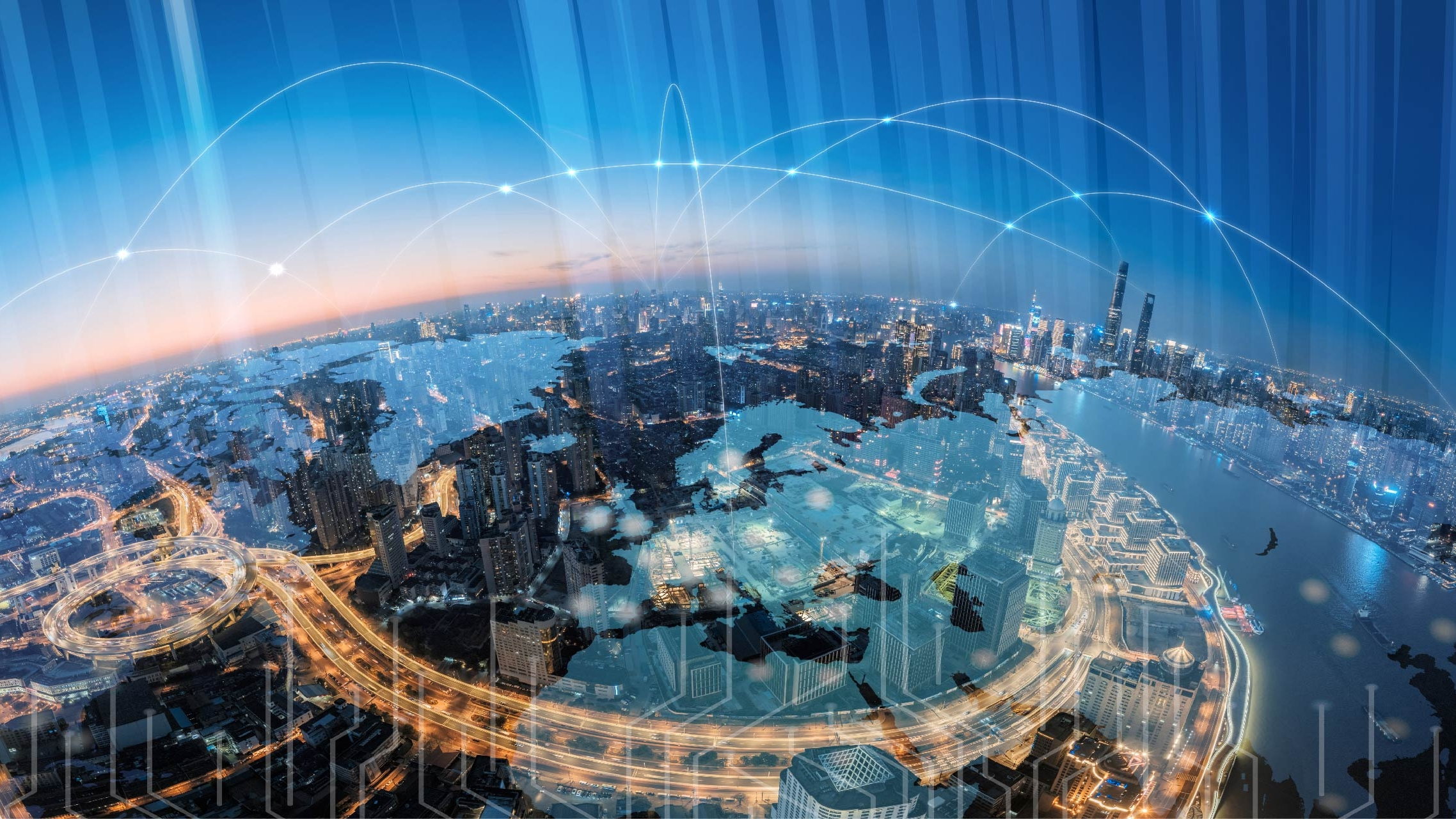 Smart city globe skyline connected with data and technology