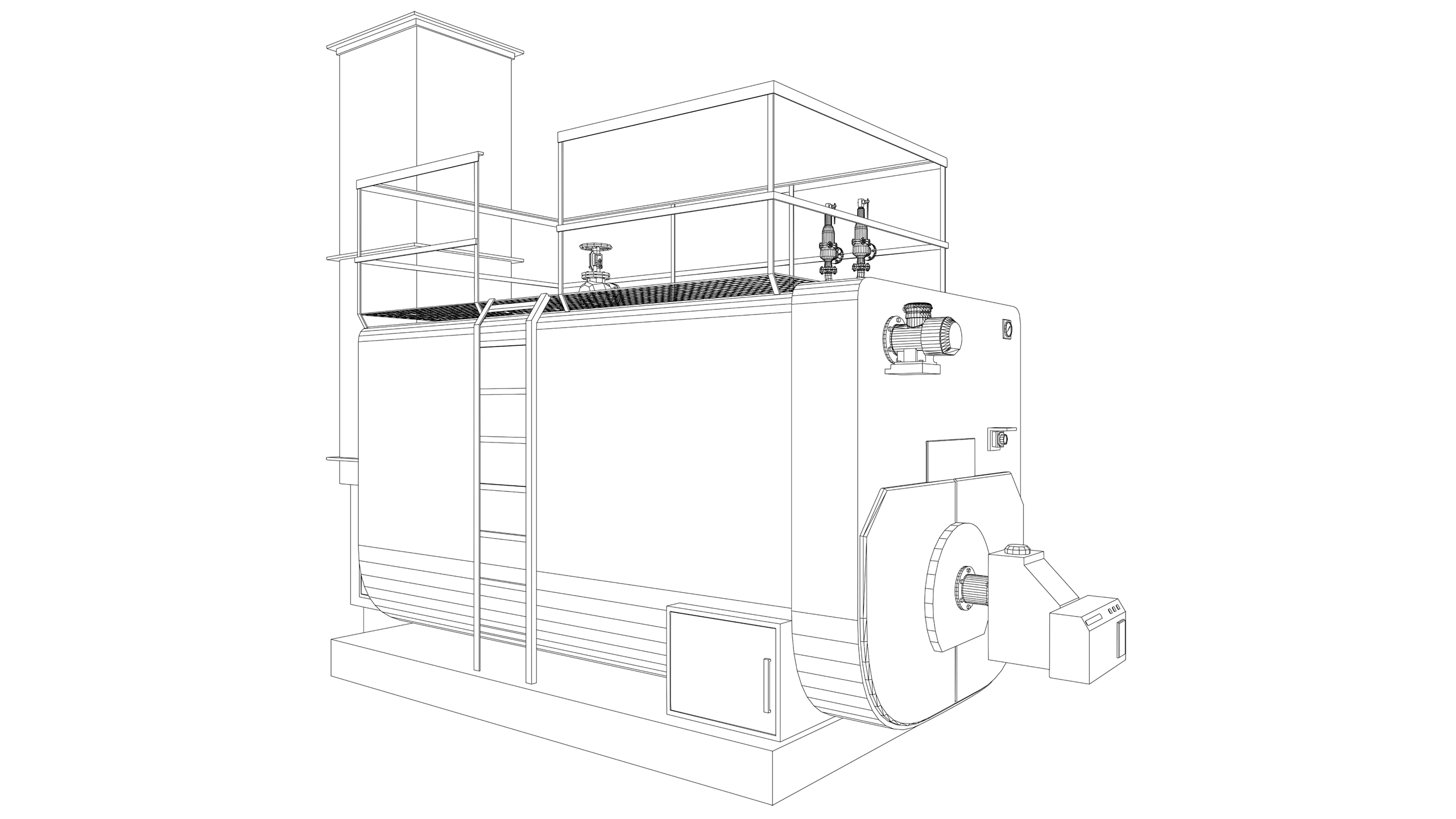 Vector Image: Pressurised Hot Water Boiler (High Temp)