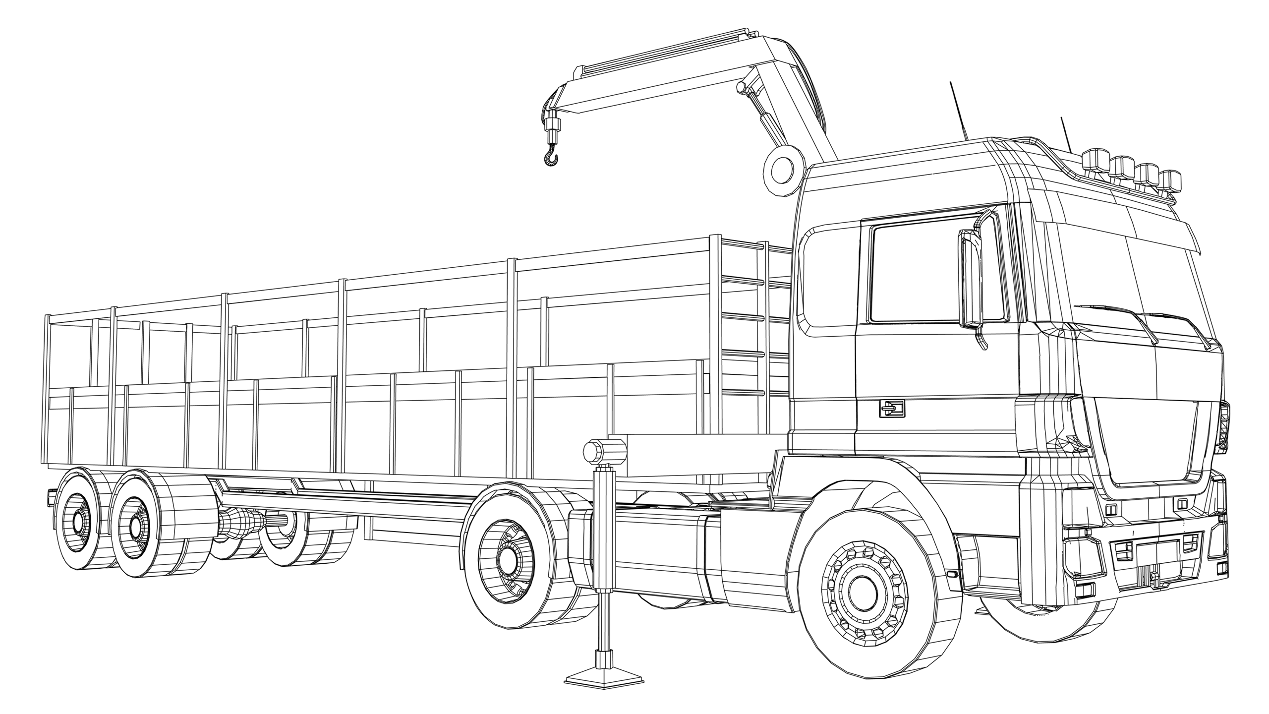 Vector image: Lorry Loading Crane