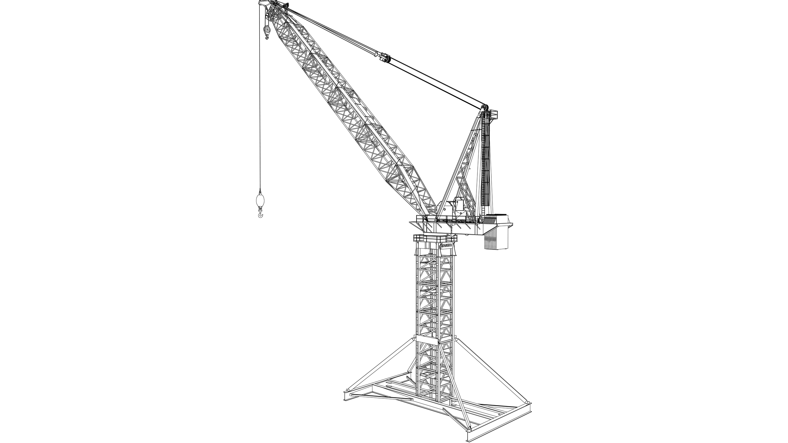 Vector image: Derrick Type Tower Crane