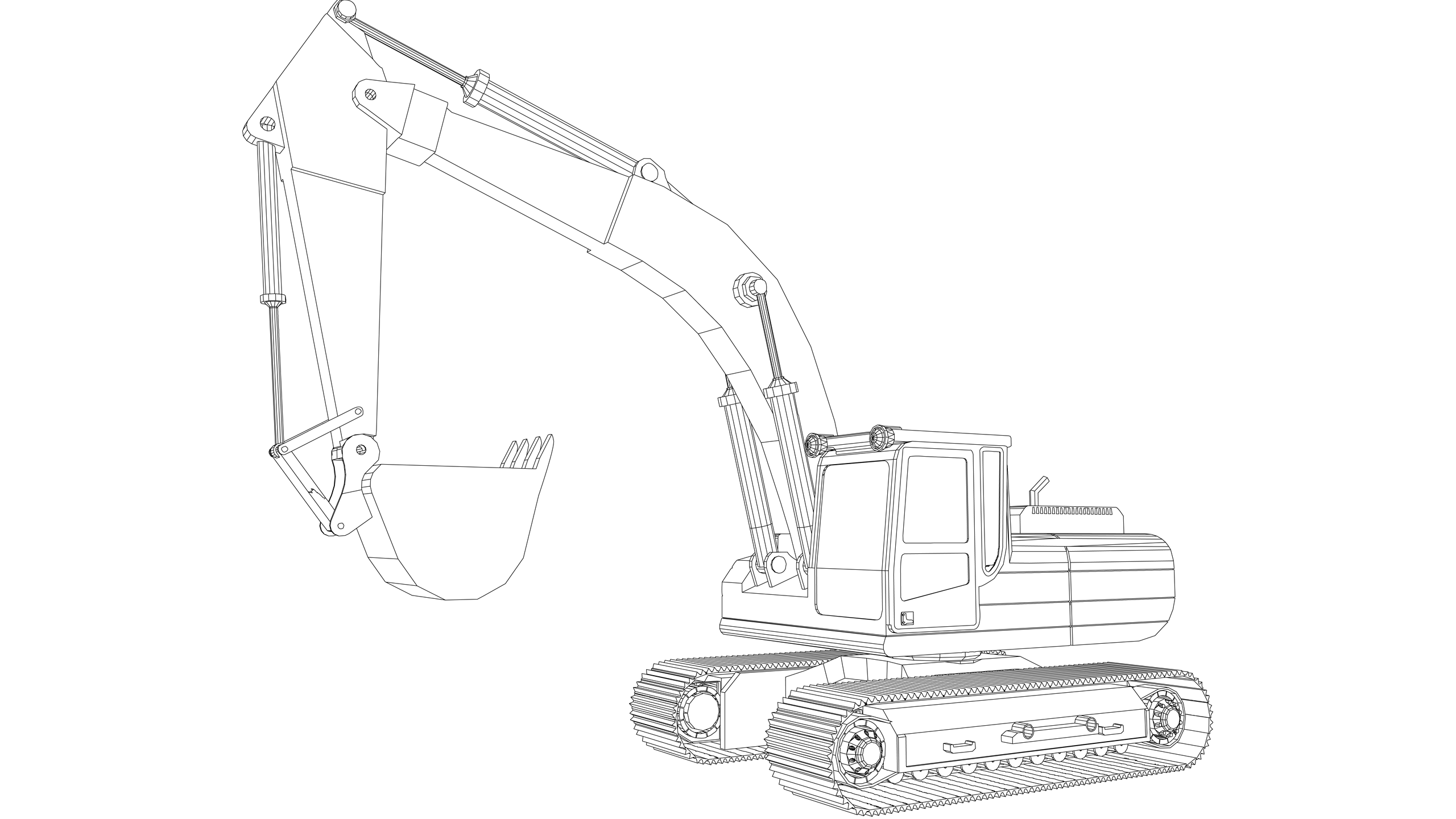 Vector Image: Hydraulic Excavator (360 Degree)