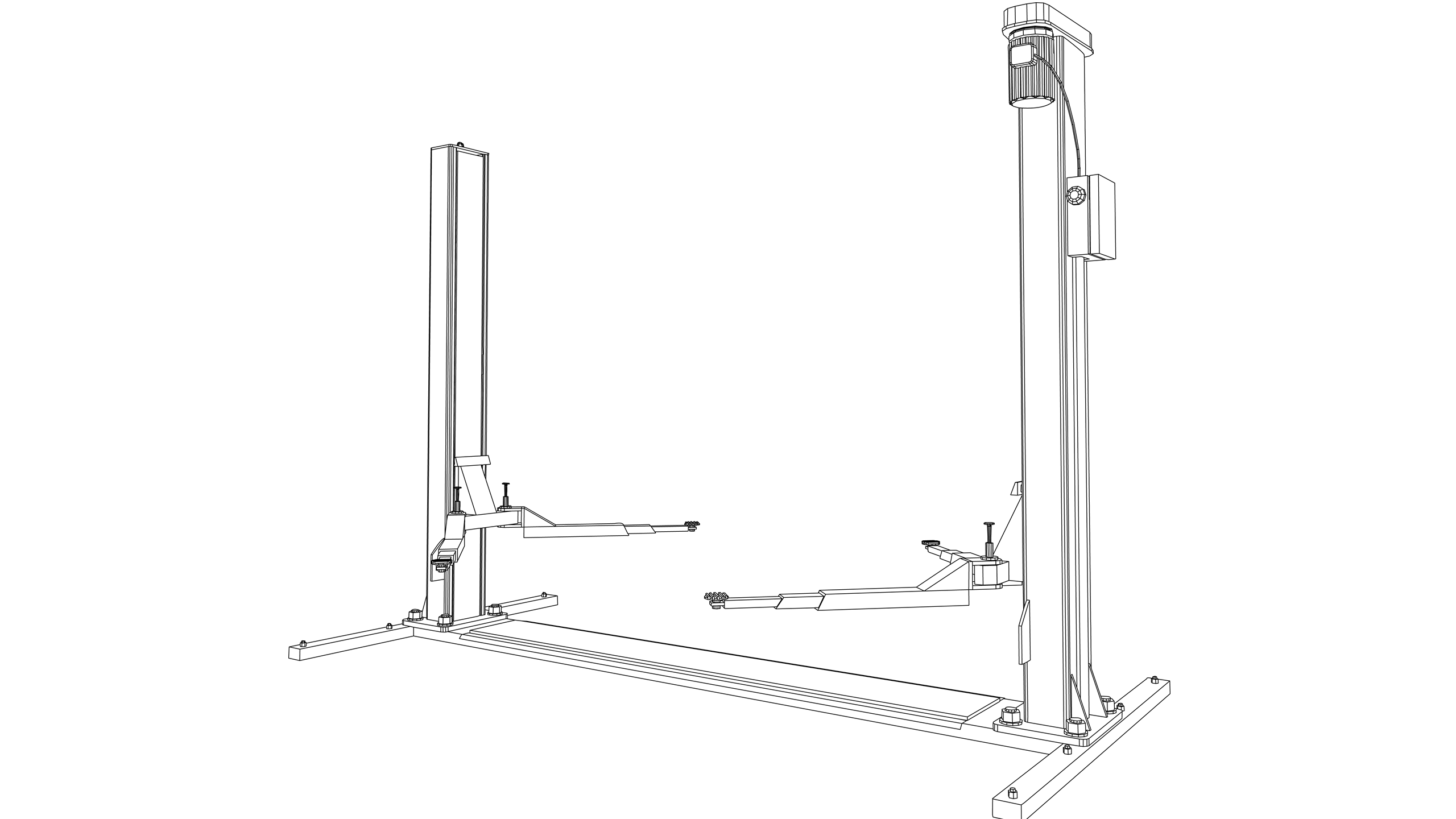 Vector Image: Motor Vehicle Lifting Table (Two Post)