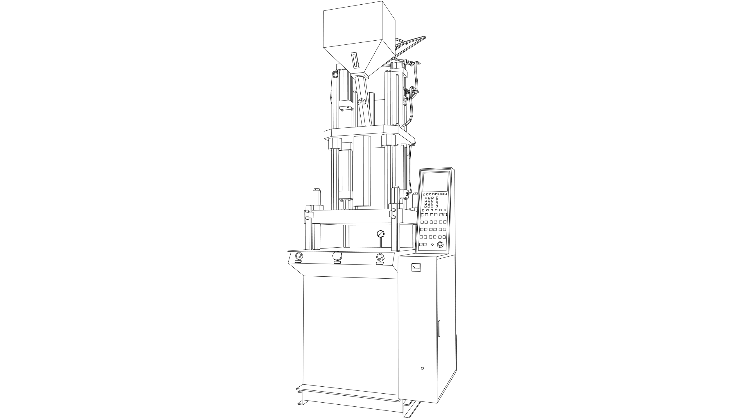 Vector Image: Vertical Injection Moulding Machine