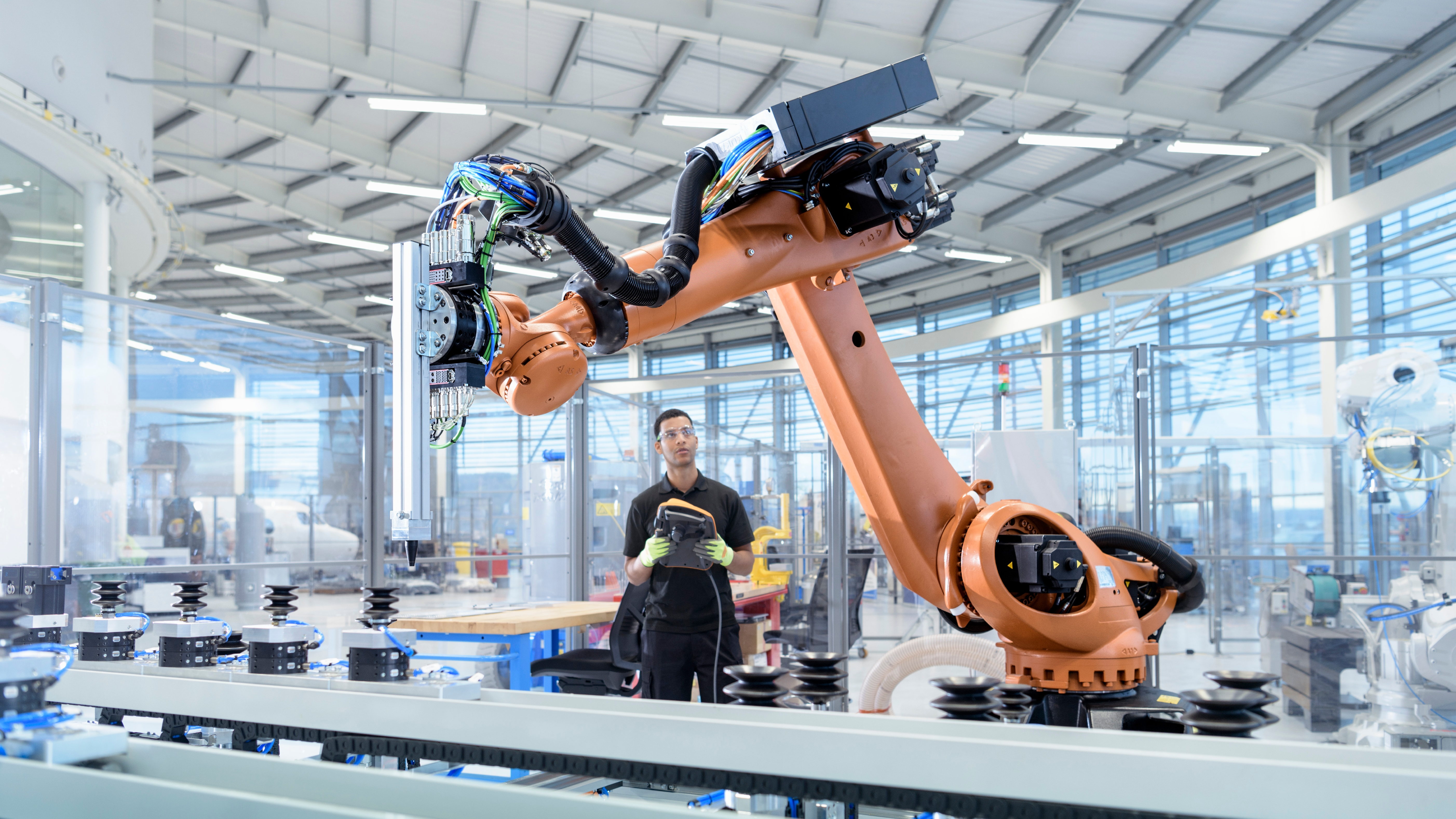 Robotic arm in a factory
