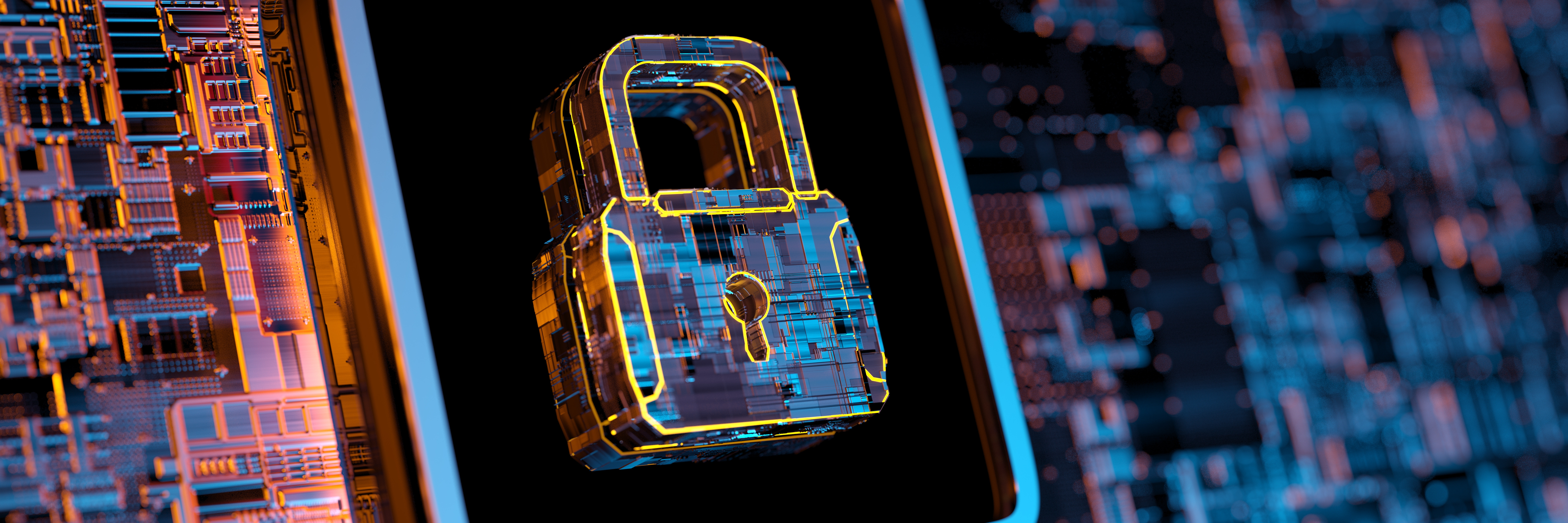 Digital illustration of cyber security lock