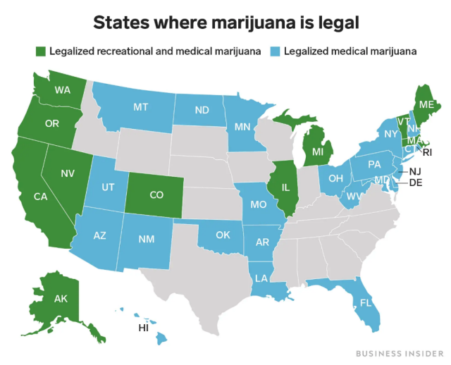 States where marijuana is legal for recreational use