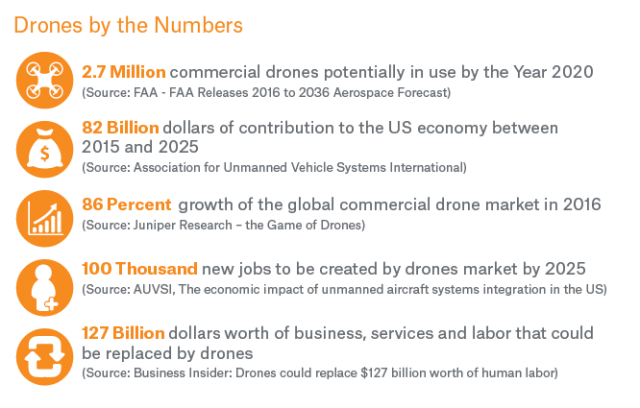 Drones by the Numbers infographic