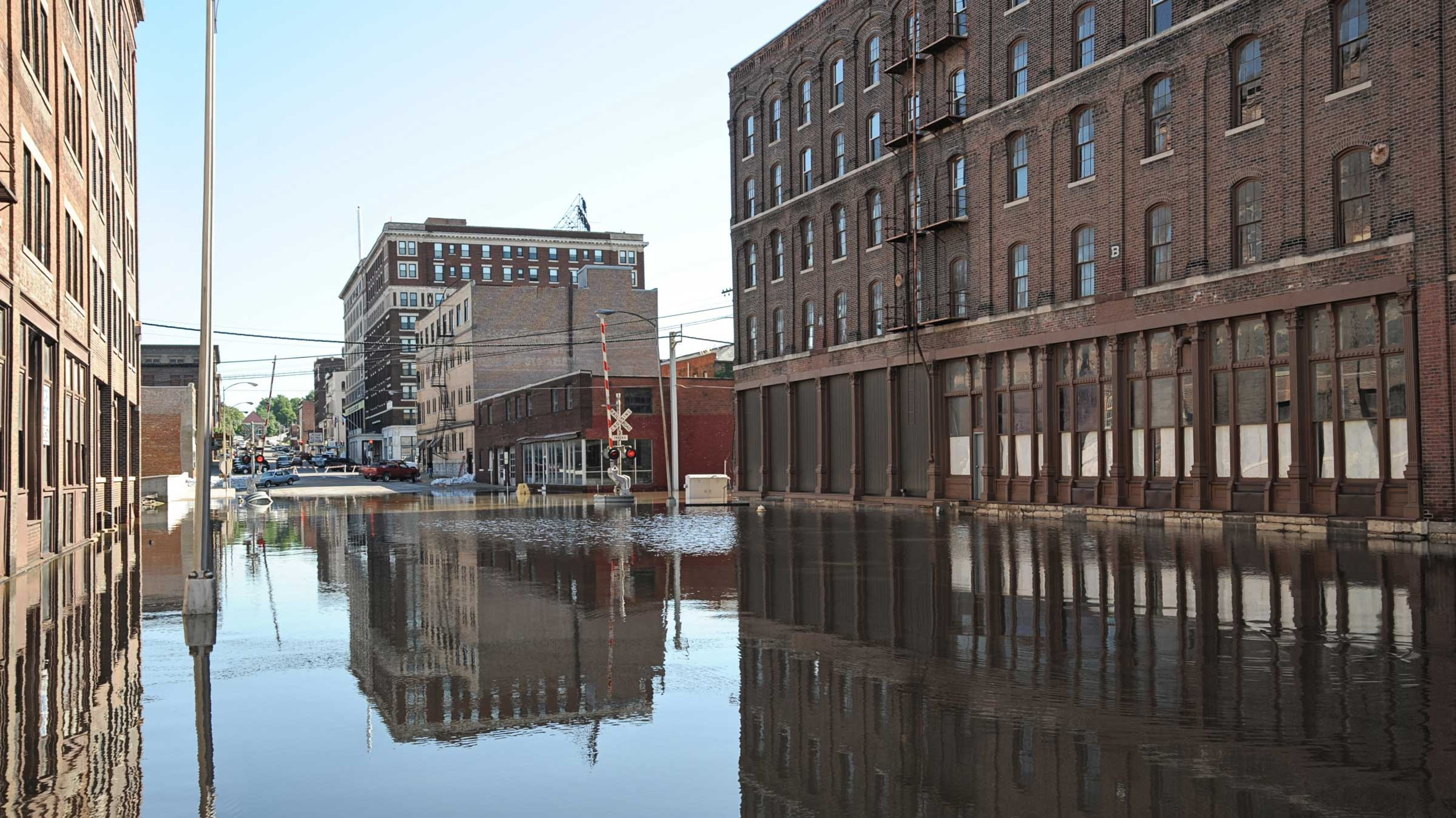 flooded downtown street