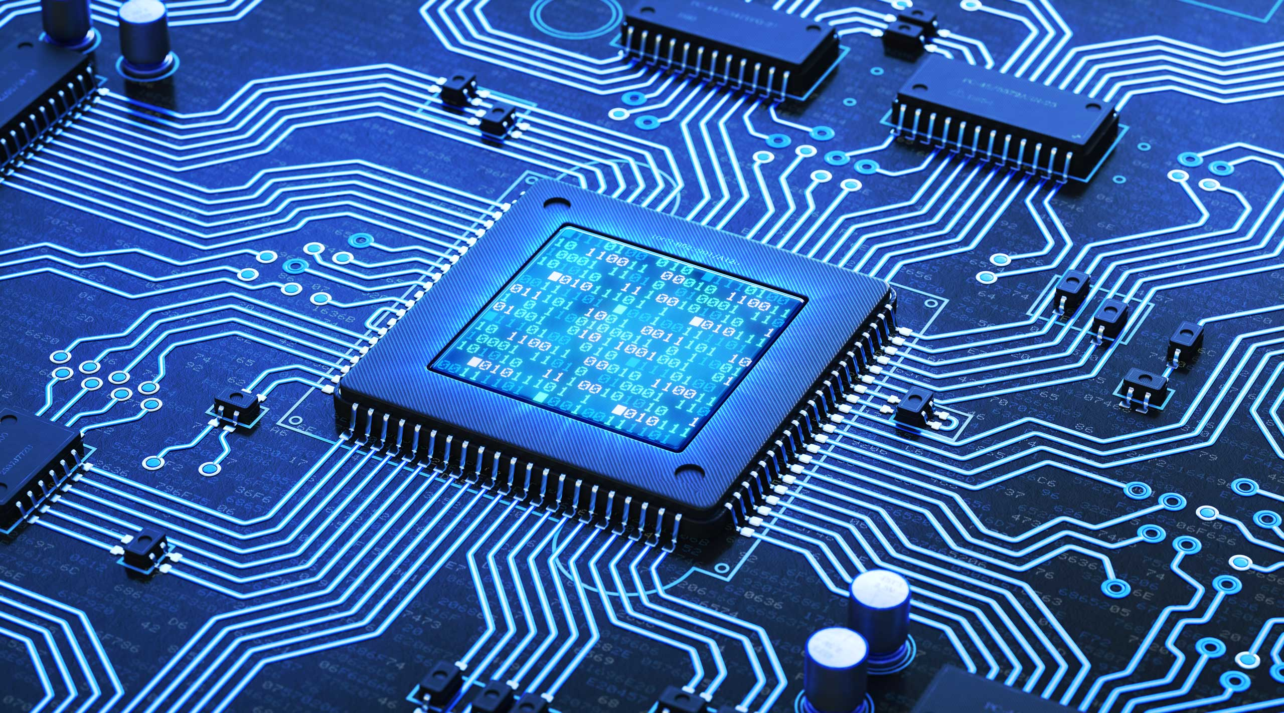 illustration of a microchip in a computer system