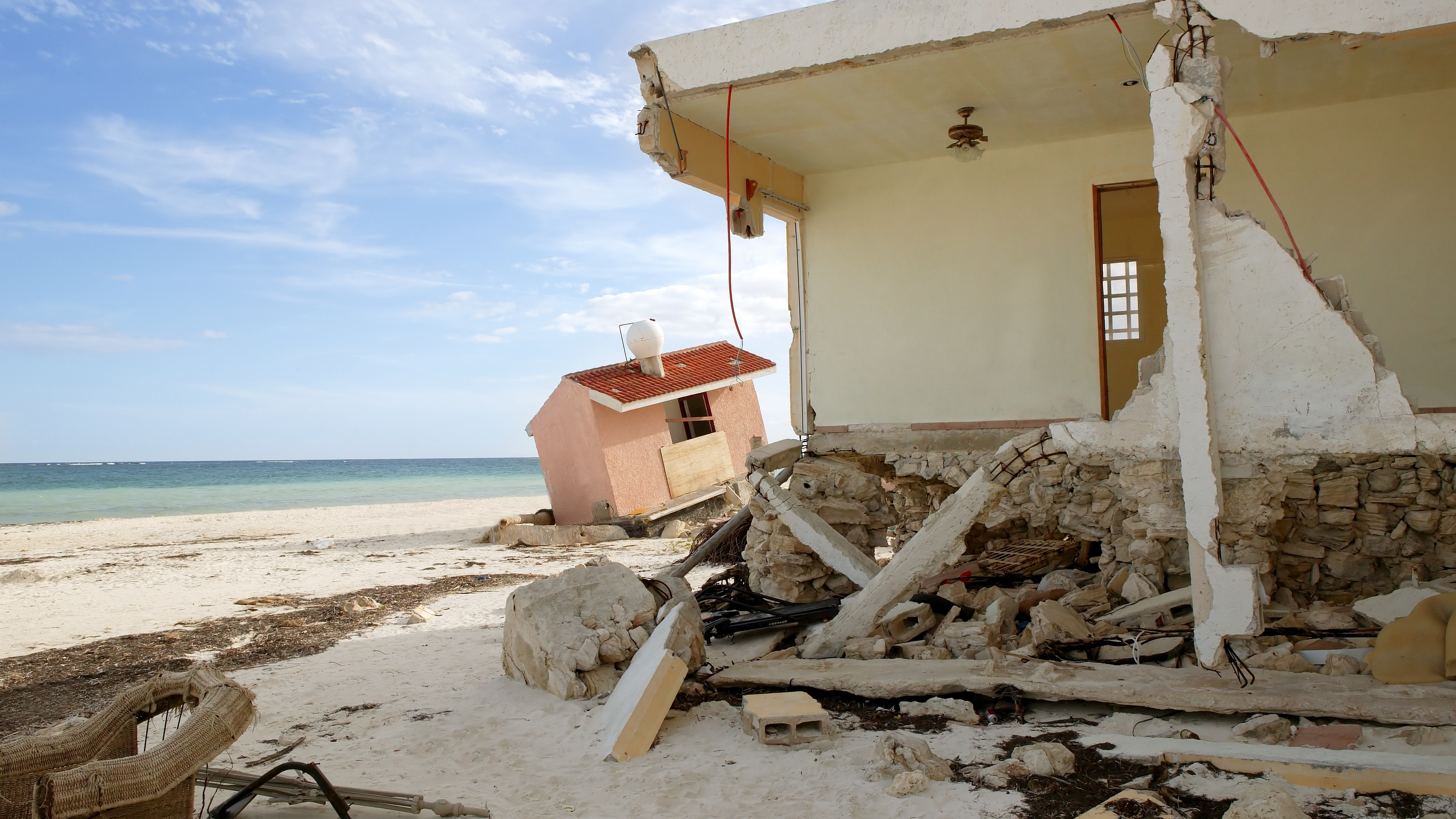 Cancun Caribbean houses after a hurricane