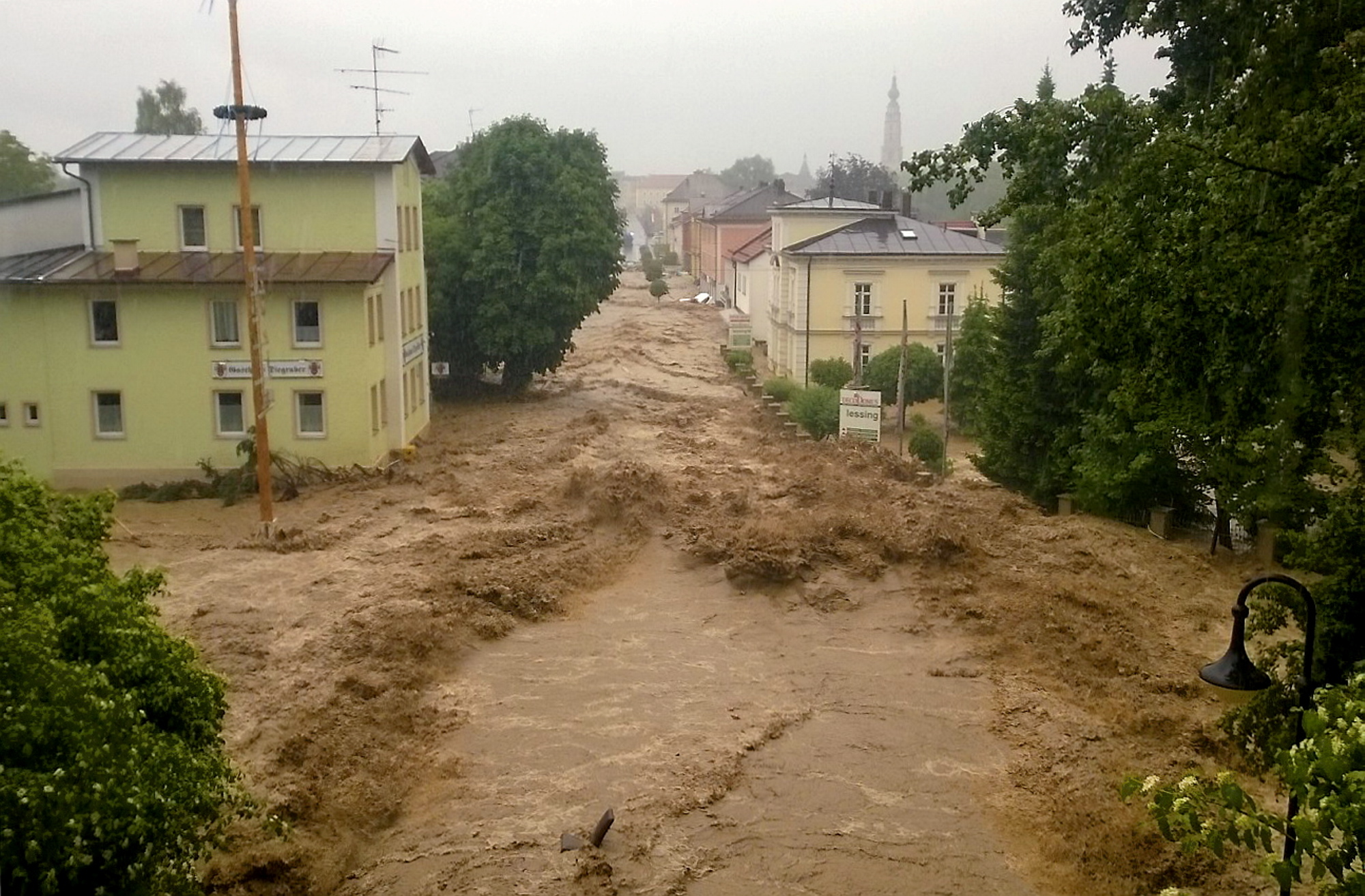 From late May until mid-June, a persistent large-scale weather pattern with thunderstorms produced intense precipitation which caused both local flash floods and widespread flooding in central Europe. The floods struck many places with no warning.