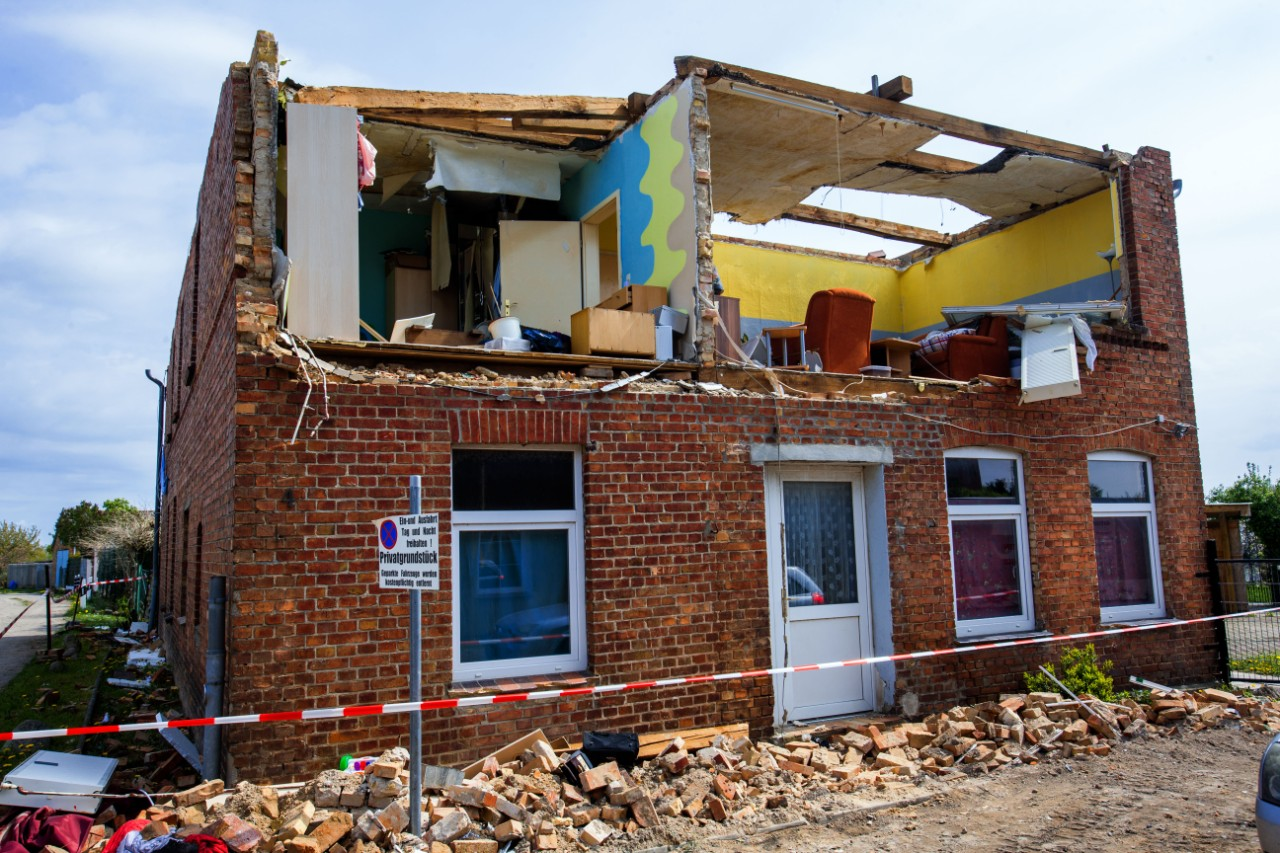 The remains of a house after the wall and roof were torn off following the hurricane in Bütznow, Germany, on 5 May 2015.