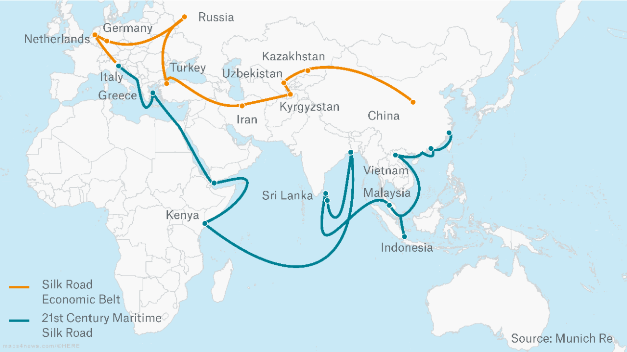 "China's ""One Belt, One Road"" plan is a sort of modern Silk Road. Investments in railway lines, pipelines and ports could boost international trade."