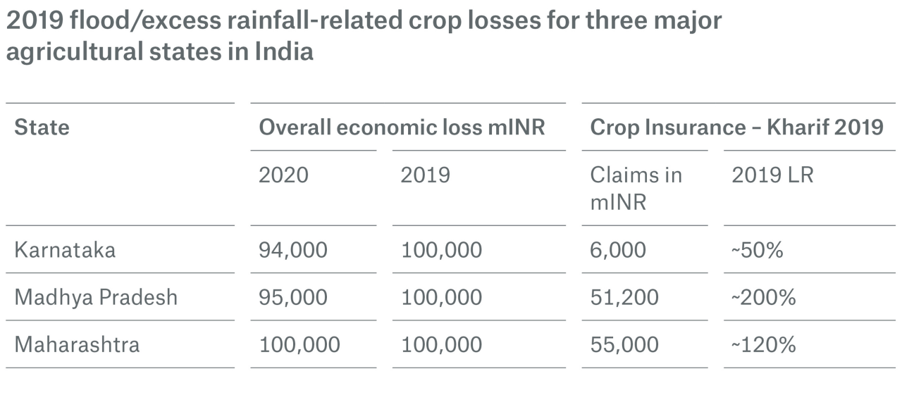 2019 flood/excess rainfall-related crop losses for three major agricultural states in India.